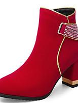 Недорогие -Жен. Ботильоны Замша Наступила зима Свадебная обувь На толстом каблуке Заостренный носок Ботинки Стразы Черный / Красный