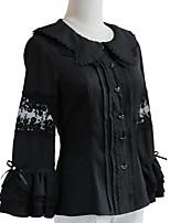 economico -Dolce Alla moda Elegante Chiffon Per femmina Top o camicia Cosplay Bianco / Nero Manica Flare Manica lunga Costumi Halloween