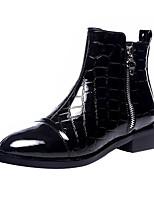 Недорогие -Жен. Fashion Boots Полиуретан Осень Ботинки Блочная пятка Круглый носок Черный
