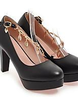 baratos -Mulheres Sapatos Confortáveis Couro Ecológico Primavera Sapatos De Casamento Salto Agulha Branco / Preto / Rosa claro
