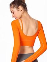economico -Per donna Tagliato Yoga Top - Nero, Arancione, Grigio Gli sport Tinta unica Top Yoga, Fitness, Palestra Manica lunga Abbigliamento sportivo Traspirante, Compressione Elasticizzato Taglia piccola