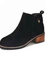 Недорогие -Жен. Fashion Boots Полиуретан Осень Минимализм Ботинки На толстом каблуке Круглый носок Ботинки Черный / Темно-коричневый / Хаки