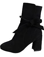 Недорогие -Жен. Fashion Boots Замша Зима Ботинки На толстом каблуке Квадратный носок Сапоги до середины икры Бант Черный / Серый / Коричневый