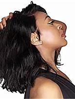 Недорогие -Remy Полностью ленточные / Лента спереди Парик Бразильские волосы Волнистые Парик Ассиметричная стрижка 130% / 150% / 180% Женский / Легко туалетный / Sexy Lady Черный Жен. 8-14