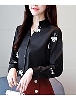 baratos -Mulheres Blusa Sólido / Floral Decote V