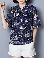 Недорогие -Жен. Офис Блуза V-образный вырез Свободный силуэт Цветочный принт