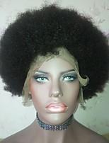 Недорогие -Remy Полностью ленточные Парик Бразильские волосы Афро Квинки Парик Стрижка боб / Стрижка каскад / Короткий Боб 130% Природные волосы / Боковая часть / Парик в афро-американском стиле Нейтральный Жен.