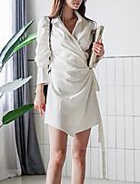 baratos -Mulheres Básico Bainha Vestido - Cordões / Patchwork, Sólido Acima do Joelho
