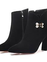 Недорогие -Жен. Fashion Boots Замша Зима Ботинки На толстом каблуке Закрытый мыс Ботинки Черный