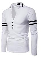 baratos -Homens Polo Estampa Colorida Colarinho de Camisa Delgado / Manga Longa