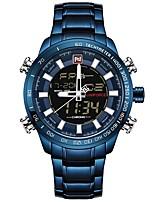 Недорогие -NAVIFORCE Муж. Нарядные часы Наручные часы Японский Японский кварц 30 m Защита от влаги Календарь Фосфоресцирующий Нержавеющая сталь Группа Аналого-цифровые Роскошь Мода Черный / Синий -
