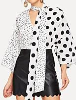 Недорогие -Жен. Блуза Богемный / Уличный стиль Горошек Черное и белое