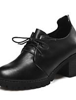 Недорогие -Жен. Комфортная обувь Наппа Leather Весна Обувь на каблуках На толстом каблуке Черный / Темно-коричневый