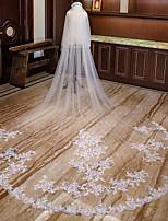 Недорогие -Два слоя С цветами Свадебные вуали Фата для венчания с Аппликации Кружева / Тюль