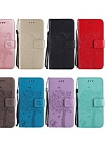 Недорогие -Кейс для Назначение LG G3 Кошелек / Бумажник для карт / со стендом Чехол Кот / дерево Твердый Кожа PU для LG G7 ThinQ / LG G5 / LG G4