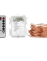 Недорогие -10 м Гирлянды / Пульты управления 100 светодиоды SMD 0603 1 пульт дистанционного управления Keys Тёплый белый / Холодный белый / RGB Водонепроницаемый / Декоративная / Подсветка для авто Аккумуляторы
