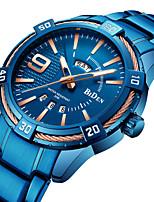 baratos -Homens Relógio Esportivo Relógio de Pulso Japanês Quartzo Japonês 30 m Calendário Relógio Casual Legal Aço Inoxidável Banda Analógico Luxo Fashion Azul - Azul Um ano Ciclo de Vida da Bateria