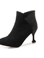 Недорогие -Жен. Fashion Boots Синтетика Зима Ботинки На шпильке Закрытый мыс Ботинки Черный / Серебряный