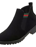 Недорогие -Жен. Комфортная обувь Полиуретан Осень На каждый день Ботинки На низком каблуке Круглый носок Ботинки Черный