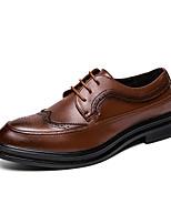 Недорогие -Муж. Кожаные ботинки Синтетика Осень Деловые / На каждый день Туфли на шнуровке Доказательство износа Черный / Коричневый