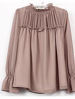 baratos -Mulheres Blusa Sólido Algodão