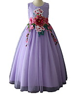 Недорогие -Дети Девочки Однотонный / Цветочный принт Без рукавов Платье