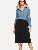 baratos -Mulheres Camisa Social Sólido Saia