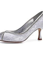 baratos -Mulheres Sapatos Confortáveis Cetim Primavera Verão Sapatos De Casamento Salto Carretel Peep Toe Gliter com Brilho Branco / Ivory / Festas & Noite