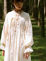 economico -Lolita Classica e Tradizionale Classico Vintage Per femmina Vestiti Cosplay Beige A sbuffo Manica lunga Midi Costumi Halloween