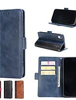 Недорогие -Кейс для Назначение Apple iPhone XR / iPhone XS Max Кошелек / Бумажник для карт / со стендом Чехол Однотонный Твердый Кожа PU для iPhone X / iPhone 8 Pluss / iPhone 8
