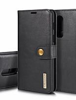 Недорогие -DG.MING Кейс для Назначение OnePlus OnePlus 6 Кошелек / Бумажник для карт / со стендом Чехол Однотонный Твердый Настоящая кожа для OnePlus 6