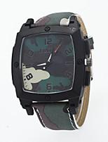 baratos -Homens Relógio Militar Quartzo Relógio Casual Couro Banda Analógico Fashion Azul / Vermelho / Cáqui - Azul Claro Khaki Verde Escuro