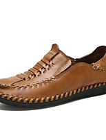 baratos -Homens Sapatos Confortáveis Pele / Couro Ecológico Outono Casual Mocassins e Slip-Ons Não escorregar Preto / Castanho Claro / Castanho Escuro