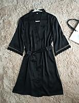 abordables -Robe de chambre / Satin & Soie Vêtement de nuit Femme - Dentelle, Couleur Pleine