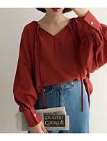 baratos -Mulheres Blusa Sólido Decote V