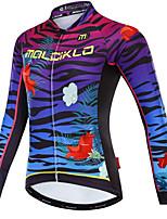 cheap -Malciklo Women's Long Sleeve Cycling Jersey - White / Black Bike Jersey, Quick Dry, Fleece Lining, Reflective Strips Fleece, Lycra Zebra / YKK Zipper / Italy Imported Ink