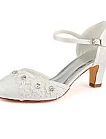 baratos -Mulheres Stiletto Cetim Verão Sapatos De Casamento Salto Robusto Ponta Redonda Presilha Ivory / Festas & Noite