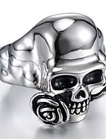 abordables -Homme Le style rétro Stylé Bague - Acier au titane Roses, Crâne Elégant, Rétro, Punk Argent Pour Cadeau Plein Air