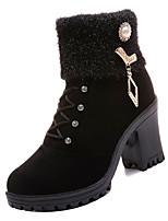 Недорогие -Жен. Армейские ботинки Замша Зима На каждый день Ботинки На толстом каблуке Сапоги до середины икры Стразы Черный / Коричневый