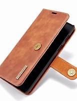 billiga -fodral Till OnePlus OnePlus 6 Plånbok / Korthållare / med stativ Fodral Enfärgad Hårt Äkta Läder för OnePlus 6
