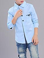 Недорогие -Дети Мальчики Однотонный Длинный рукав Рубашка