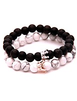 cheap -Men's Black Matte / Volcanic Stone Beads Strand Bracelet - Creative Simple, Fashion Bracelet White / Black For Daily / Going out