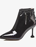 Недорогие -Жен. Комфортная обувь Наппа Leather Зима Ботинки На шпильке Ботинки Черный / Миндальный