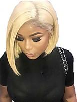 Недорогие -Натуральные волосы Лента спереди Парик Бразильские волосы / Бирманские волосы Прямой Парик Стрижка боб 130% Женский / Легко туалетный / Лучшее качество Жен. Короткие