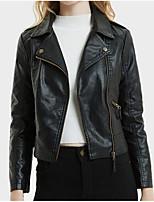 Недорогие -Жен. Кожаные куртки Активный - Однотонный