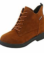 Недорогие -Жен. Ботильоны Полиуретан Осень Ботинки На плоской подошве Круглый носок Ботинки Черный / Коричневый