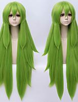 abordables -Perruques de cosplay Bouclé Coupe Asymétrique Cheveux Synthétiques 38 pouce Cosplay Vert Perruque Homme / Femme Long Sans bonnet Vert