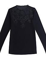 baratos -Mulheres Camiseta / Blusa - Para Noite / Trabalho Sólido Gola Redonda Delgado