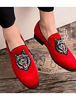 Недорогие -Муж. Комфортная обувь Замша Лето Мокасины и Свитер Черный / Красный