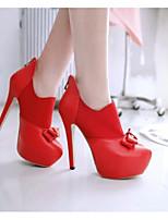 Недорогие -Жен. Fashion Boots Полиуретан Весна Ботинки На шпильке Закрытый мыс Ботинки Белый / Черный / Красный